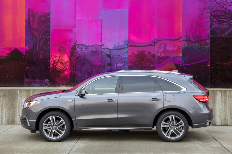 Picture of a 2019 Acura MDX Sport Hybrid in Modern Steel Metallic from a side perspective