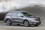 Picture of a 2019 Acura MDX Sport Hybrid in Modern Steel Metallic from a front right three-quarter perspective