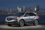 Picture of a 2019 Acura MDX Sport Hybrid in Modern Steel Metallic from a front left three-quarter perspective