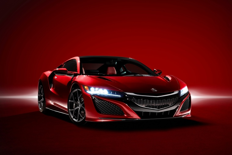 2018 Acura NSX Sport Hybrid SH-AWD in Valencia Red Pearl from a front right view