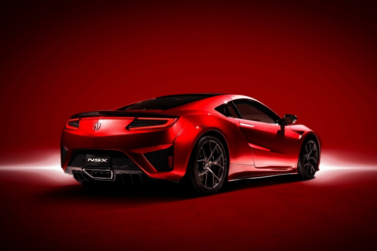 2018 Acura NSX Sport Hybrid SH-AWD in Valencia Red Pearl from a rear right three-quarter view