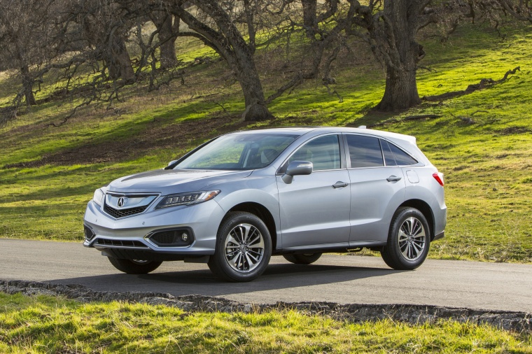 2017 Acura RDX AWD in Lunar Silver Metallic from a front left three-quarter view