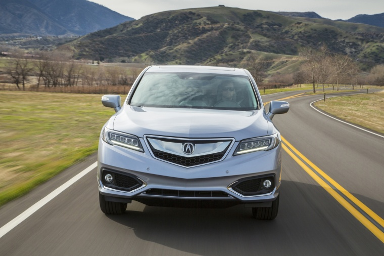Driving 2017 Acura RDX AWD in Lunar Silver Metallic from a frontal view
