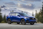 Picture of a 2020 Acura RDX A-Spec Package SH-AWD in Apex Blue Pearl from a front right three-quarter perspective