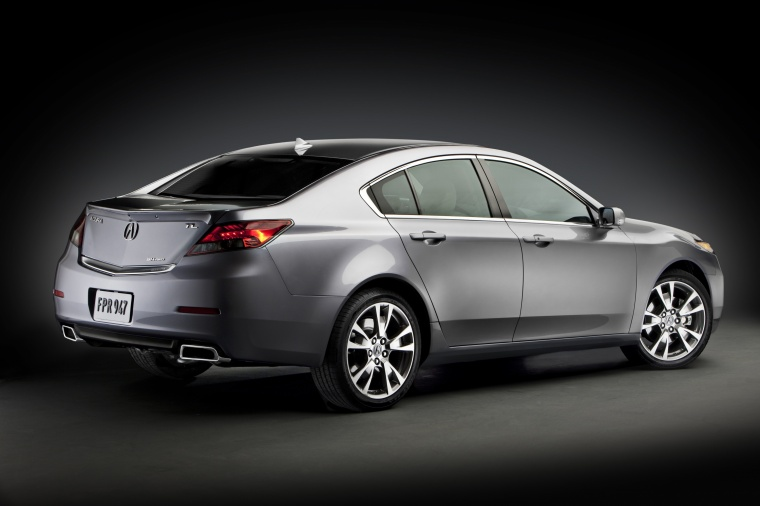 2012 Acura TL in Graphite Luster Metallic from a rear right three-quarter view