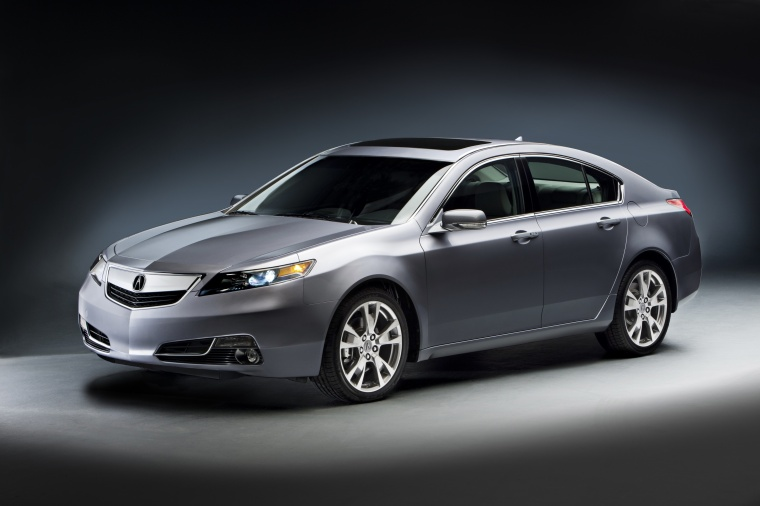 2014 Acura TL in Graphite Luster Metallic from a front left three-quarter view