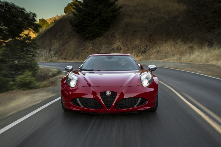 Driving 2018 Alfa Romeo 4C Coupe in Rosso Alfa from a frontal view