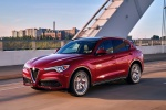 2018 Alfa Romeo Stelvio Ti Sport AWD in Rosso Competizione Tri-Coat - Driving Front Left Three-quarter View