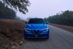 Picture of a 2019 Alfa Romeo Stelvio Quadrifoglio AWD in Montecarlo Blue Metallic from a frontal perspective