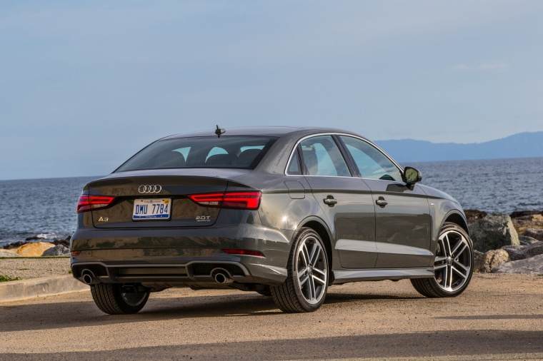2018 Audi A3 2.0T S-Line quattro Sedan in Monsoon Gray Metallic from a rear right three-quarter view