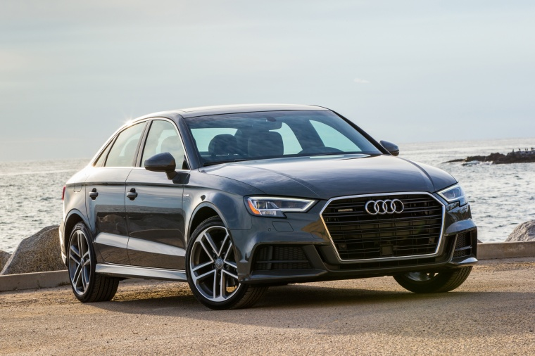 2018 Audi A3 2.0T S-Line quattro Sedan in Monsoon Gray Metallic from a front right three-quarter view