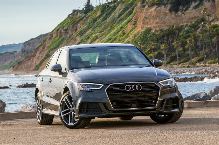 2018 Audi A3 2.0T S-Line quattro Sedan in Monsoon Gray Metallic from a front right view