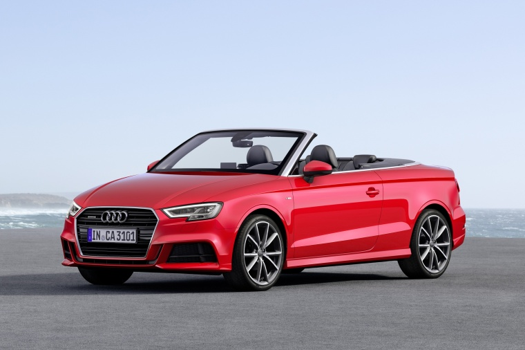 2018 Audi A3 2.0T quattro S-Line Convertible in Tango Red Metallic from a front left three-quarter view
