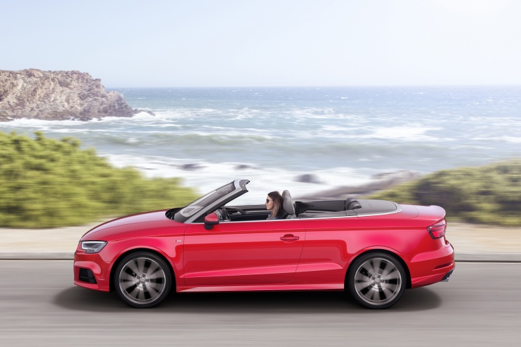 2018 Audi A3 2.0T quattro S-Line Convertible in Tango Red Metallic from a left side view