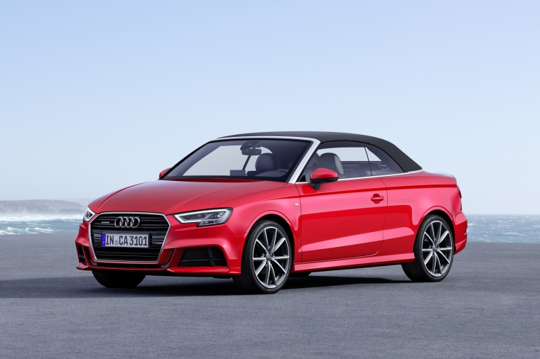 2018 Audi A3 2.0T quattro S-Line Convertible with top closed in Tango Red Metallic from a front left three-quarter view