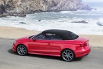 2018 Audi A3 2.0T quattro S-Line Convertible with top closed in Tango Red Metallic - Static Rear Left Three-quarter View