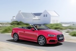 2018 Audi A3 2.0T quattro S-Line Convertible in Tango Red Metallic - Driving Front Right Three-quarter View