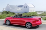 2018 Audi A3 2.0T quattro S-Line Convertible in Tango Red Metallic - Driving Rear Left Three-quarter View