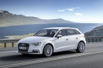 2018 Audi A3 Sportback e-tron in Glacier White Metallic - Driving Front Left Three-quarter View