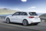 2018 Audi A3 Sportback e-tron in Glacier White Metallic - Driving Rear Left Three-quarter View