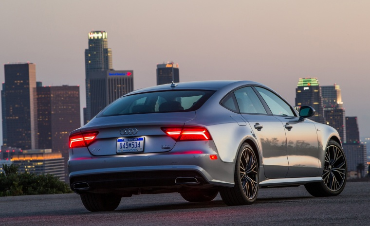2017 Audi A7 Sportback in Florett Silver from a rear right view