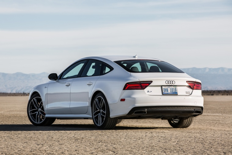 2017 Audi A7 Sportback in Glacier White from a rear left view