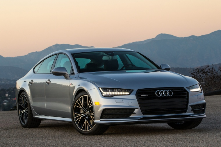2017 Audi A7 Sportback in Florett Silver from a front right view