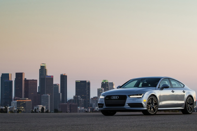 2017 Audi A7 Sportback in Florett Silver from a front left three-quarter view
