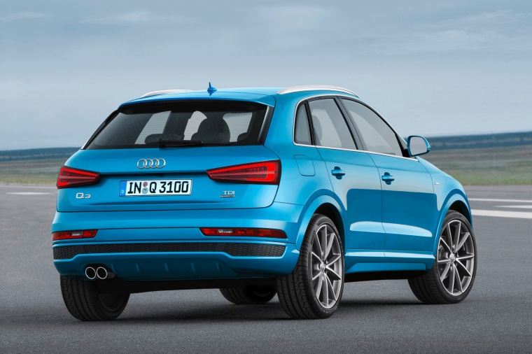 2016 Audi Q3 in Hainan Blue Metallic from a rear right three-quarter view