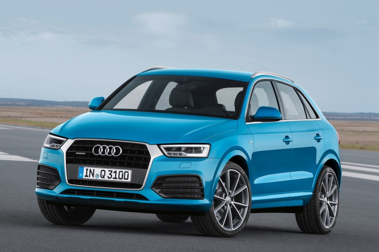 2017 Audi Q3 in Hainan Blue Metallic from a front left three-quarter view