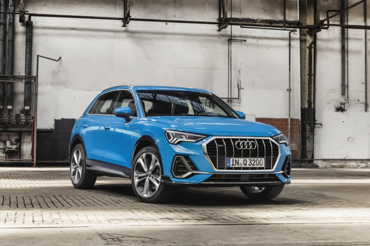 2020 Audi Q3 45 quattro in Turbo Blue from a front right view