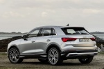 Picture of a 2020 Audi Q3 45 quattro in Florett Silver Metallic from a rear left three-quarter perspective