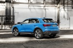 Picture of a 2020 Audi Q3 45 quattro in Turbo Blue from a rear left three-quarter perspective