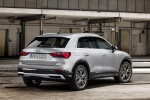 Picture of a 2020 Audi Q3 45 quattro in Florett Silver Metallic from a rear right three-quarter perspective
