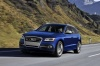 Driving 2017 Audi SQ5 Quattro in Sepang Blue Pearl Effect from a front left three-quarter view