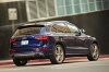 Driving 2017 Audi SQ5 Quattro in Sepang Blue Pearl Effect from a rear right three-quarter view