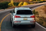 Picture of a driving 2018 Audi Q5 quattro in Florett Silver Metallic from a rear perspective