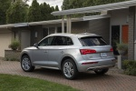 Picture of a 2020 Audi Q5 45 TFSI quattro in Florett Silver Metallic from a rear left three-quarter perspective