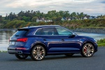 Picture of a 2020 Audi SQ5 quattro in Navarra Blue Metallic from a rear right three-quarter perspective
