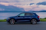 Picture of a 2020 Audi SQ5 quattro in Navarra Blue Metallic from a left side perspective