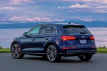 Picture of a 2020 Audi SQ5 quattro in Navarra Blue Metallic from a rear left three-quarter perspective