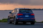 Picture of a 2020 Audi SQ5 quattro in Navarra Blue Metallic from a rear perspective