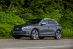 Picture of a driving 2020 Audi SQ5 quattro in Daytona Gray Pearl Effect from a front left three-quarter perspective