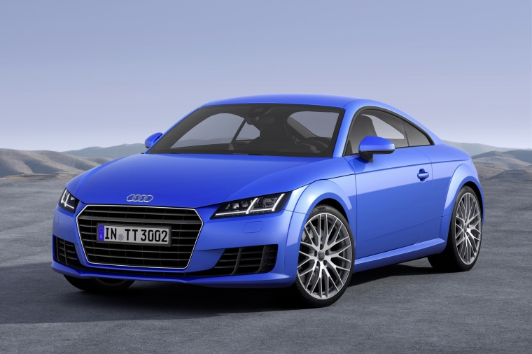2018 Audi TT Coupe in Scuba Blue Metallic from a front left view