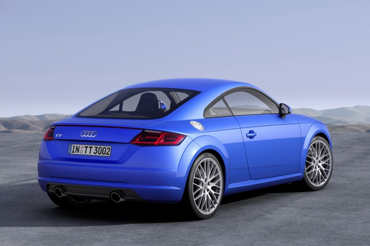 2018 Audi TT Coupe in Scuba Blue Metallic from a rear right view