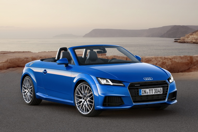 2018 Audi TT Roadster in Scuba Blue Metallic from a front right three-quarter view