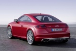 2018 Audi TTS Coupe in Tango Red Metallic - Static Rear Left View