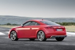 2018 Audi TTS Coupe in Tango Red Metallic - Static Rear Left Three-quarter View