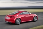 2018 Audi TTS Coupe in Tango Red Metallic - Driving Rear Right Three-quarter View