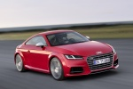 2018 Audi TTS Coupe in Tango Red Metallic - Driving Front Right Three-quarter View